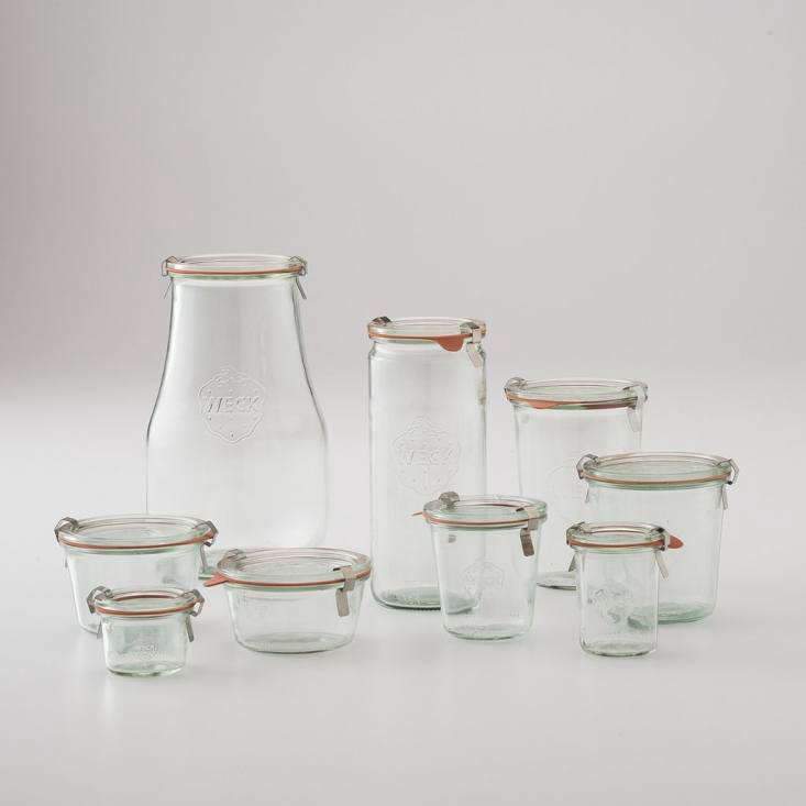 We singled outWeck Storage Jars from Germany in the Remodelista book as one of our everyday favorites. They come in a variety of sizes (a sampling from Schoolhouse Electric shown here, priced from $3 to $8). Sarah swears by her Weck collection for containing everything from last night&#8