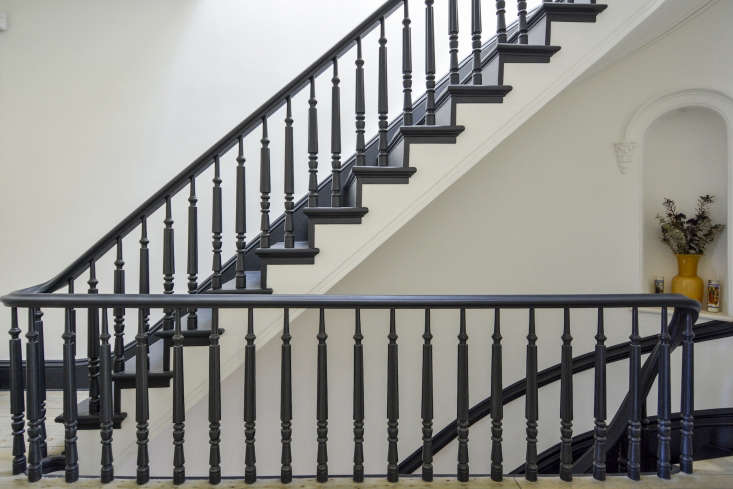 A staircase painted in Benjamin Moore&#8