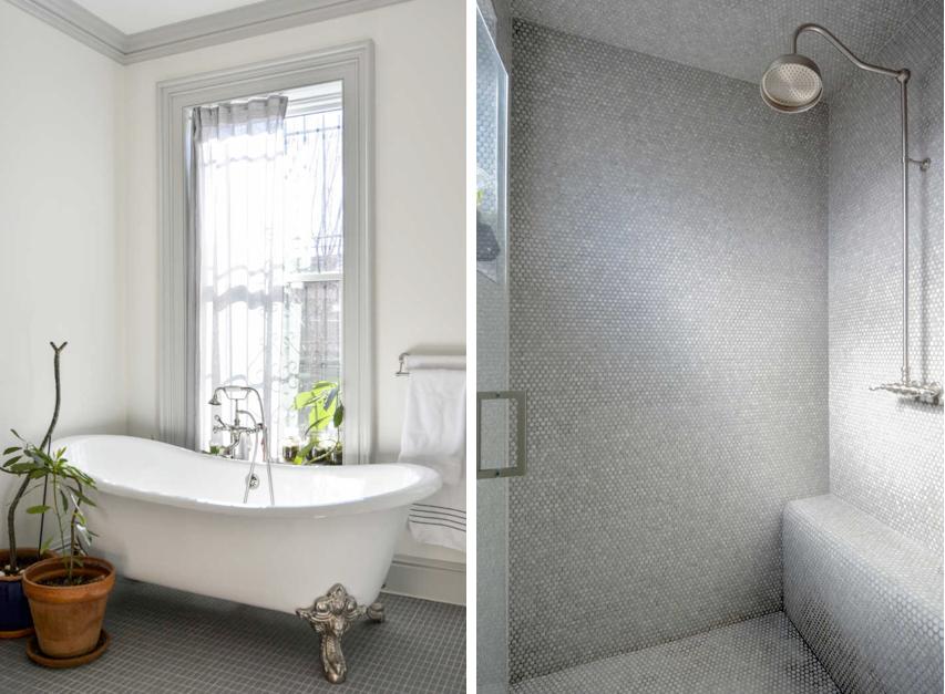 claw footed bathtub and rain shower in a brooklyn master bath by architects gre 20