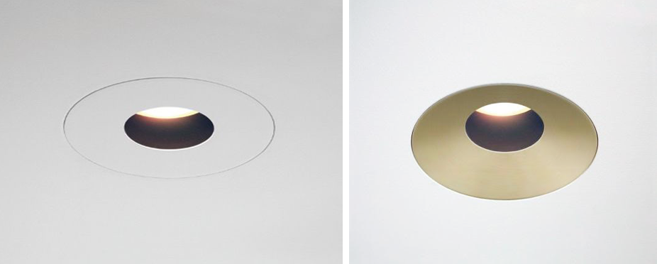 From recessed lighting leaders No.8 Lighting, LEDRecessed Ceiling Lightsin two flush circular trims in white and in satin brass.