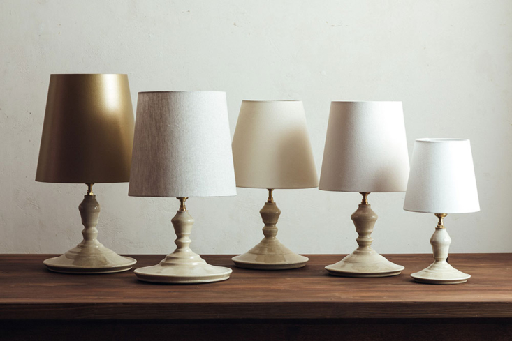 An array of ceramic table lamps designed in collaboration with ceramicist Yusuke Tanahashi (contact Flame for more information).