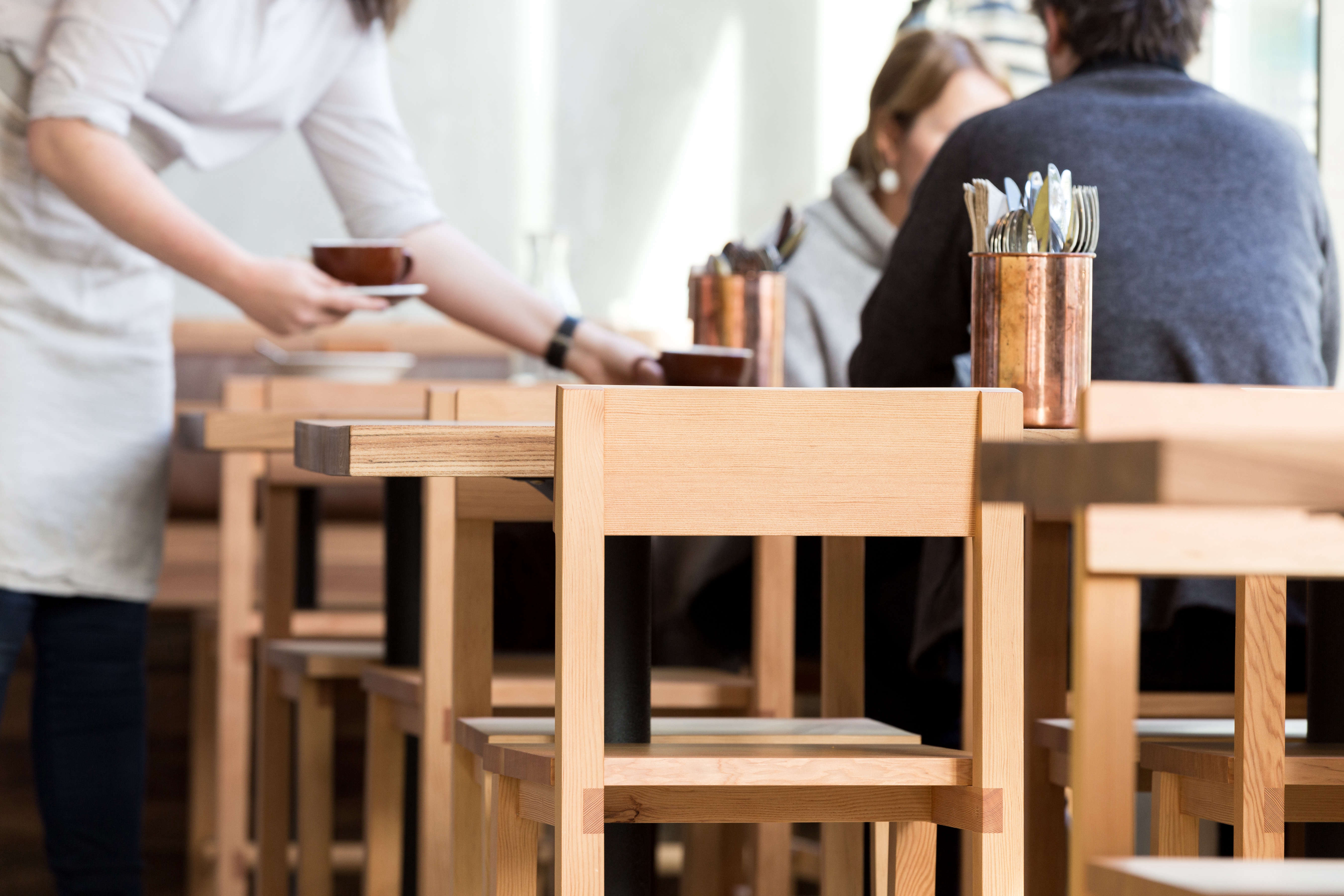 Dowel Dining Chairs outfit Little Gem in San Francisco, a new restaurant from three alum chefs of Thomas Keller kitchens.