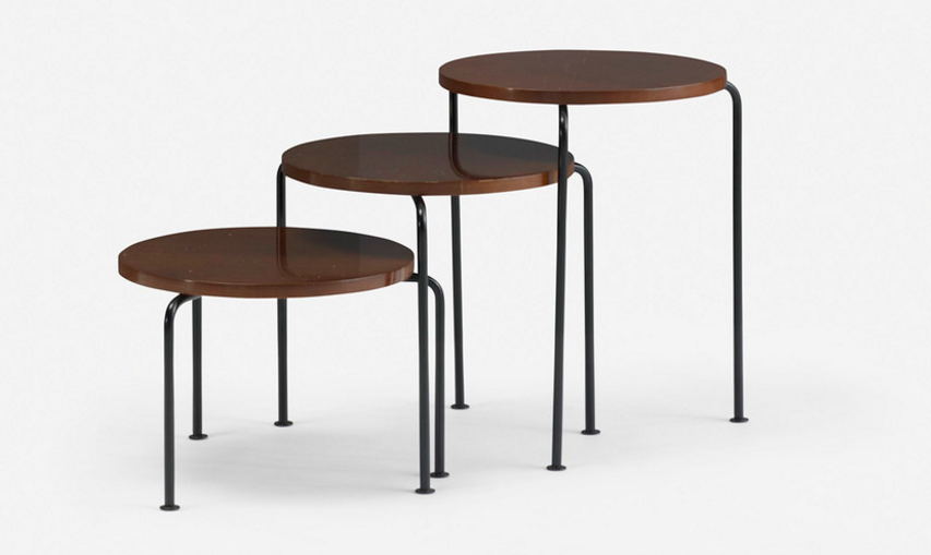 Wright, a Chicago auction house specializing in modern design, sold this set of Nesting Tablesfor $3,000 (three times the estimate) in loading=