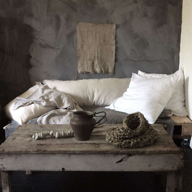 A strand of stones adorns a table of other sculptural elements atMr. & Mrs. Charlieshop. SeeVagabond Chic: Instagram Stars Mr. & Mrs. Charlie Launch a Shop.
