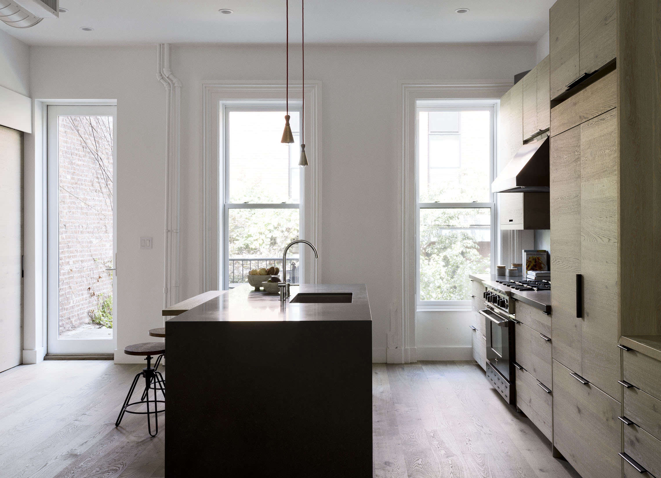 brooklyn kitchen design with custom wood cabinets and quartzite island by works 10