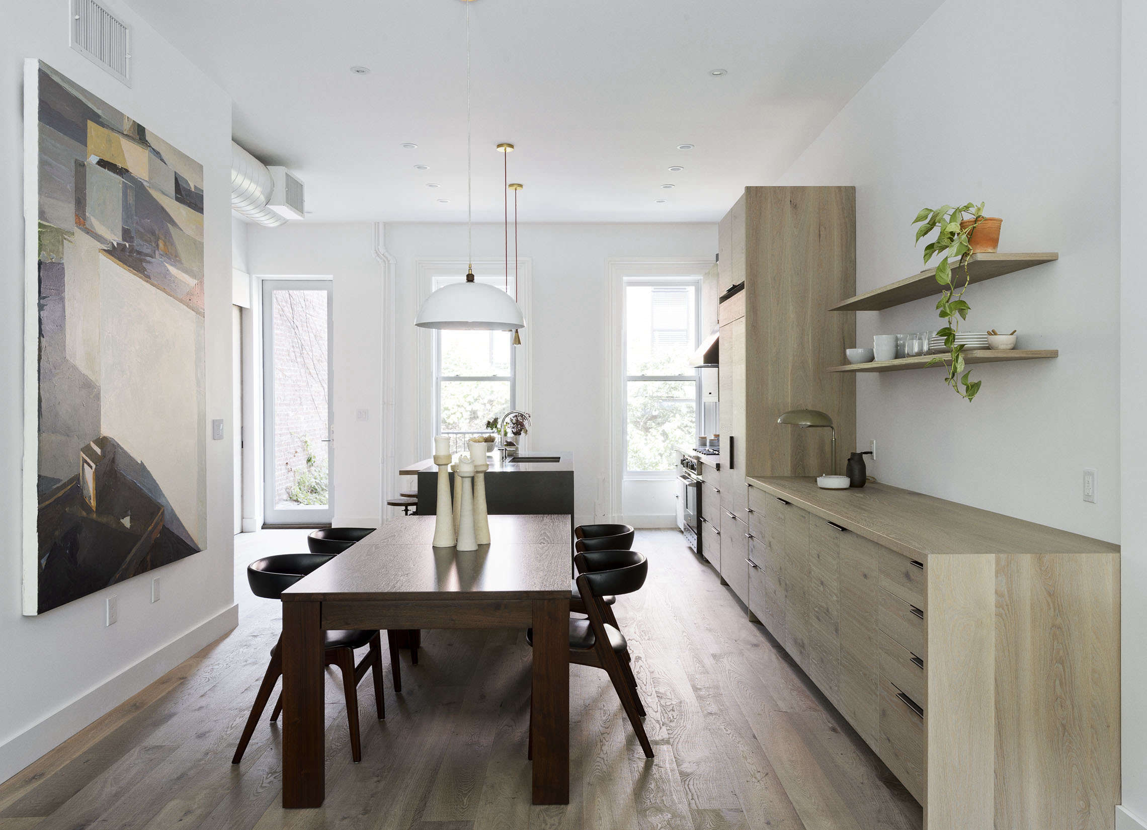 dining area in a brooklyn kitchen remodel with custom oak cabinets, design by w 15