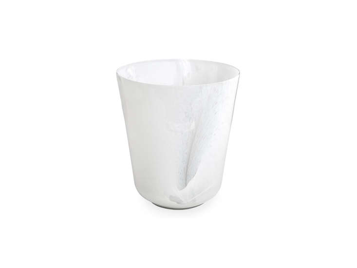 the latte round wastebasket is made of italian milk glass, a mixture of crystal 23