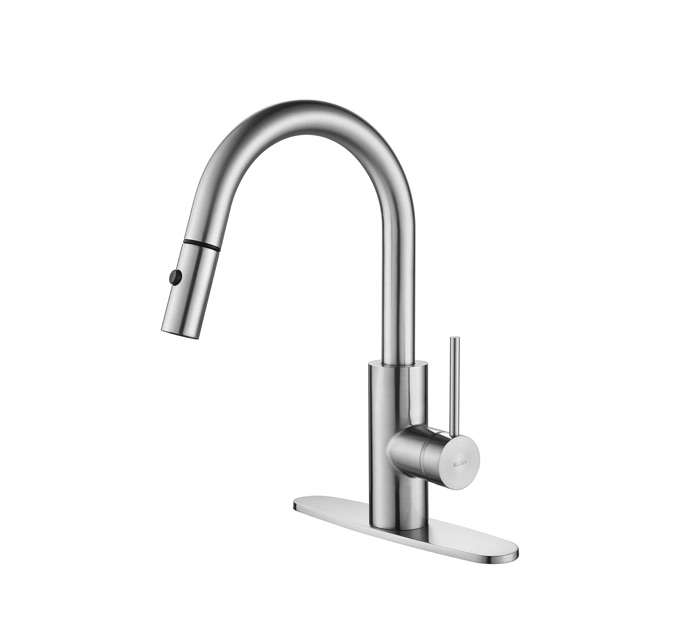 10 Easy Pieces PullDown Sprayer Faucets Kraus mateo pull down kitchen faucet remodelista