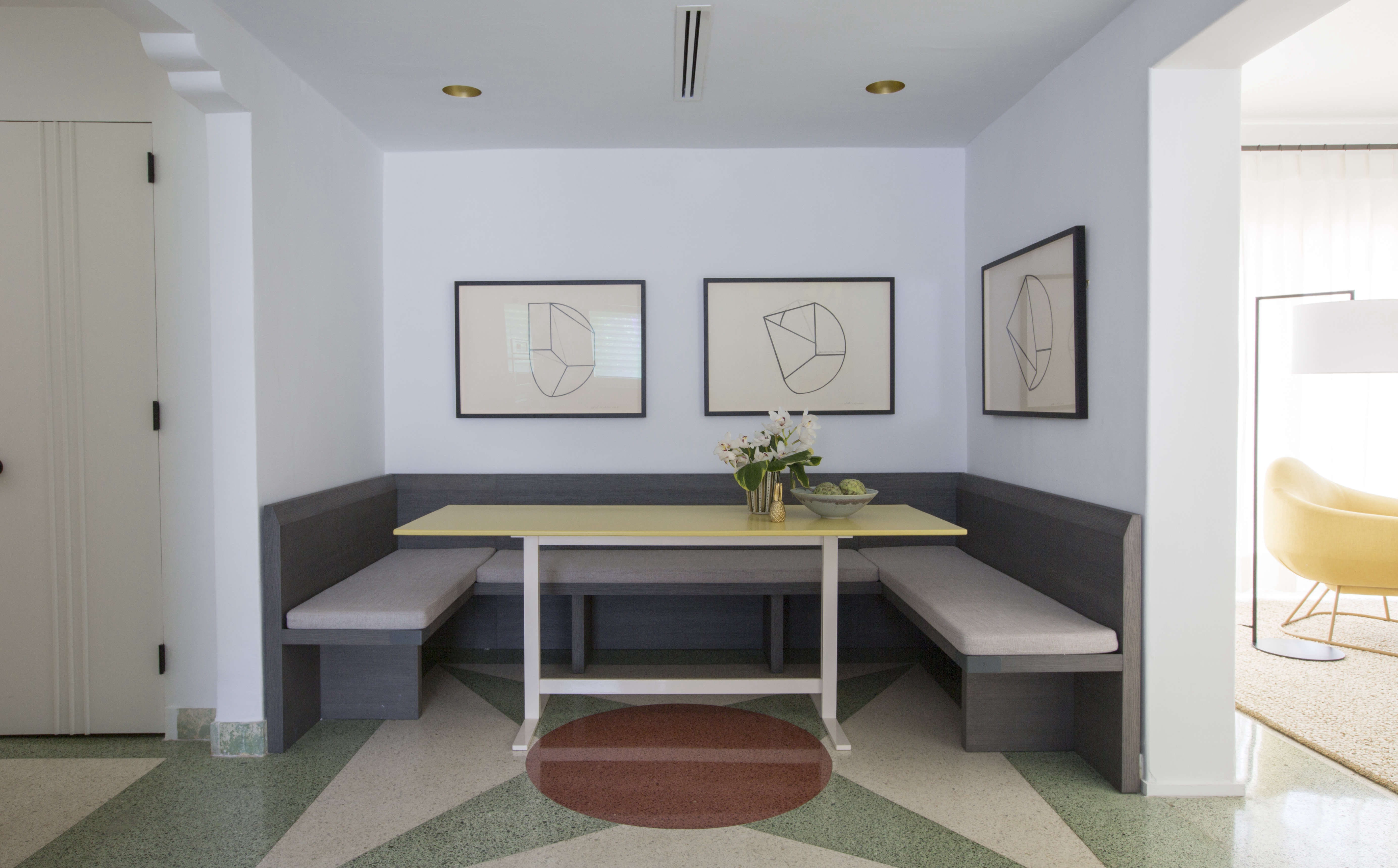 Modern in Miami At Home with a Worldly Contemporary Furniture Dealer Breakfast nook in Miami art deco villa remodel by Stephan Weishaupt, owner of Avenue Road, Max Zambelli photo | Remodelista