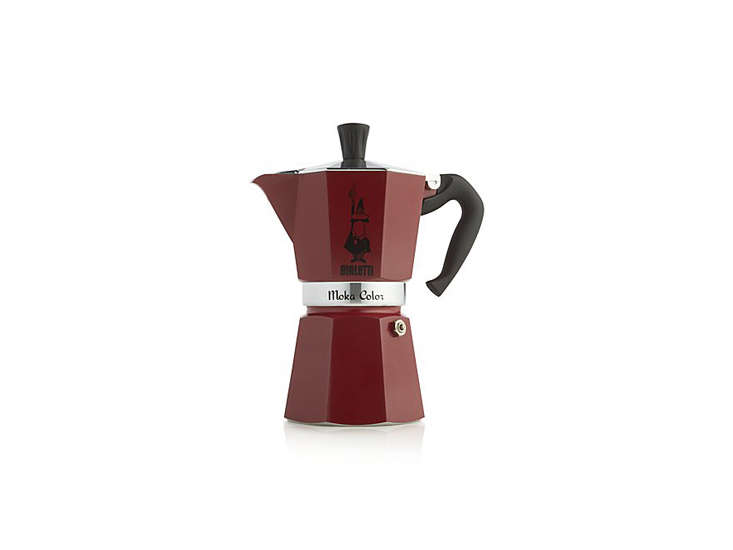 the bialetti red moka six cup espresso maker in red is \$39.95 at crate & b 22