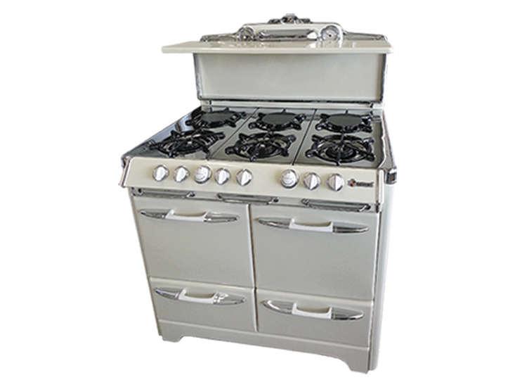 Steal This Look Hudson Milliner Kitchen in New York vintage bisque stove remodelista