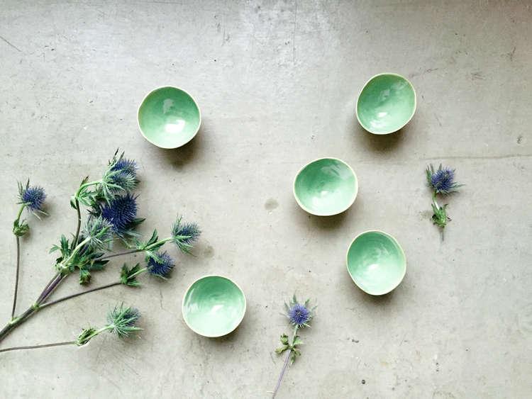 Elin Lannsjo ceramics, pea green cups, Remodelista