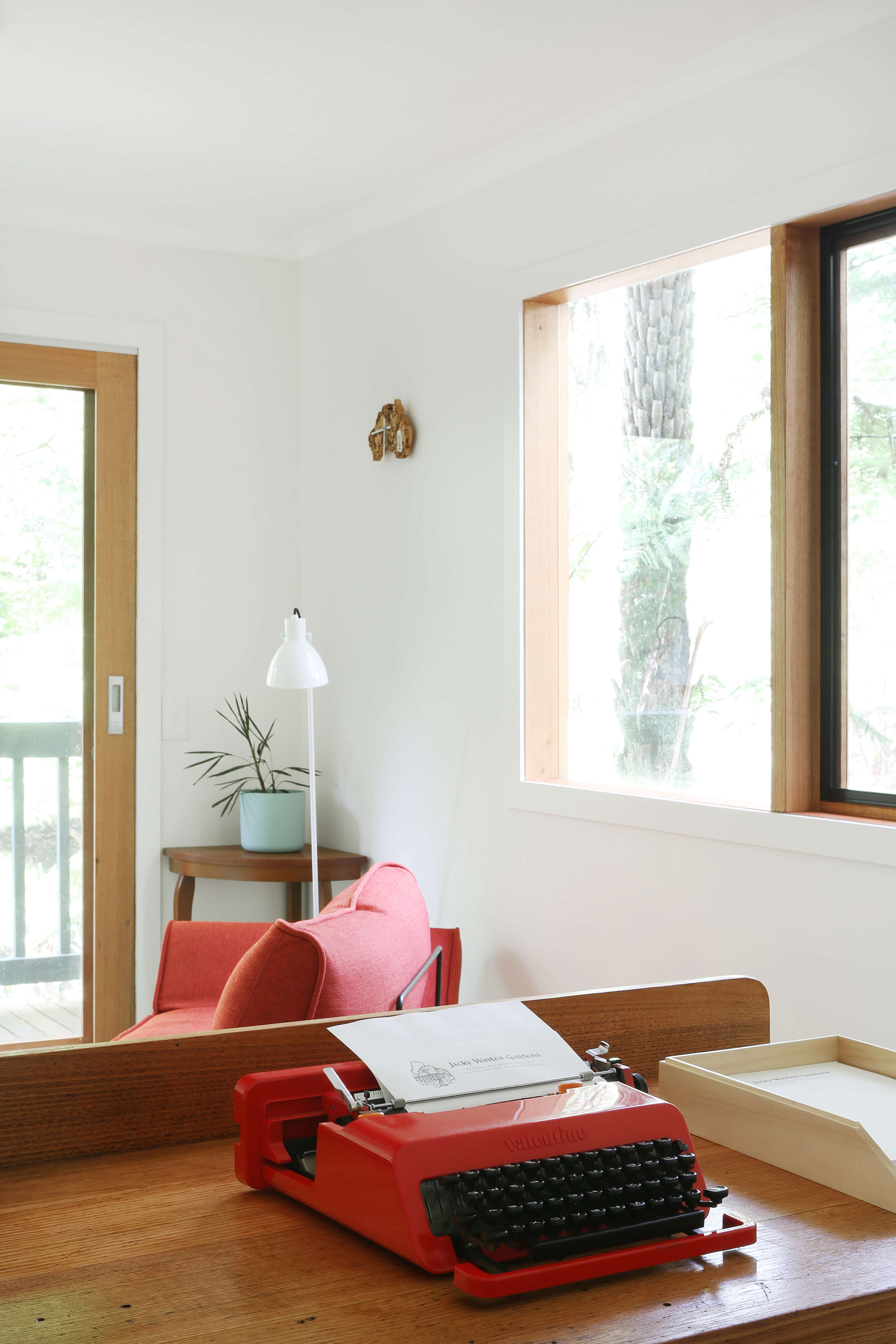 Olivetti Lipstick typewriter at Jackie Winter Gardens, a guesthouse and artist residency outside Melbourne, Australia, designed by Searah Trotter of Hearth; Rhiannon Taylor photo| Remodelista
