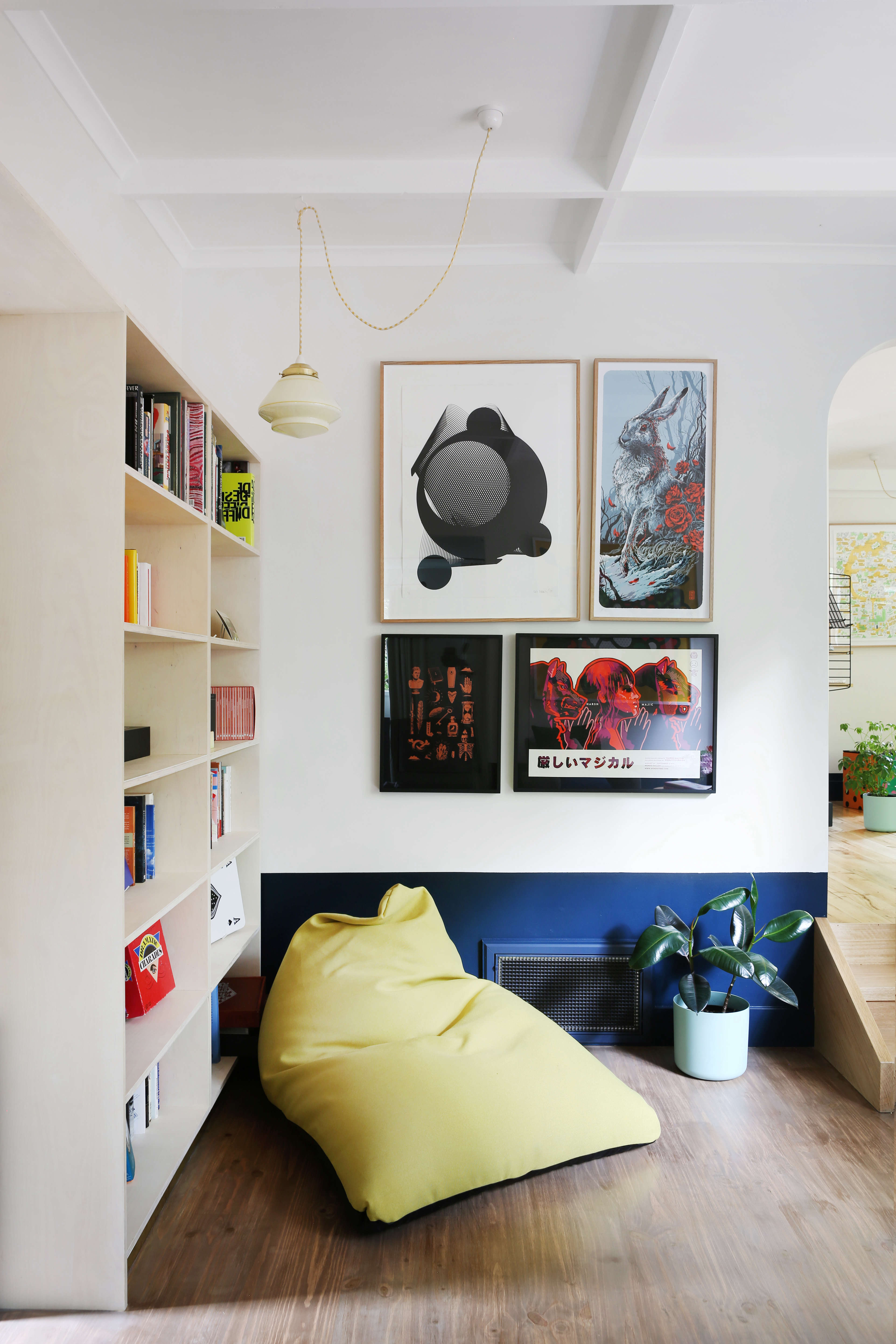 Guest library at Jackie Winter Gardens, a guesthouse and artist residency outside Melbourne, Australia, designed by Searah Trotter of Hearth; Rhiannon Taylor photo| Remodelista
