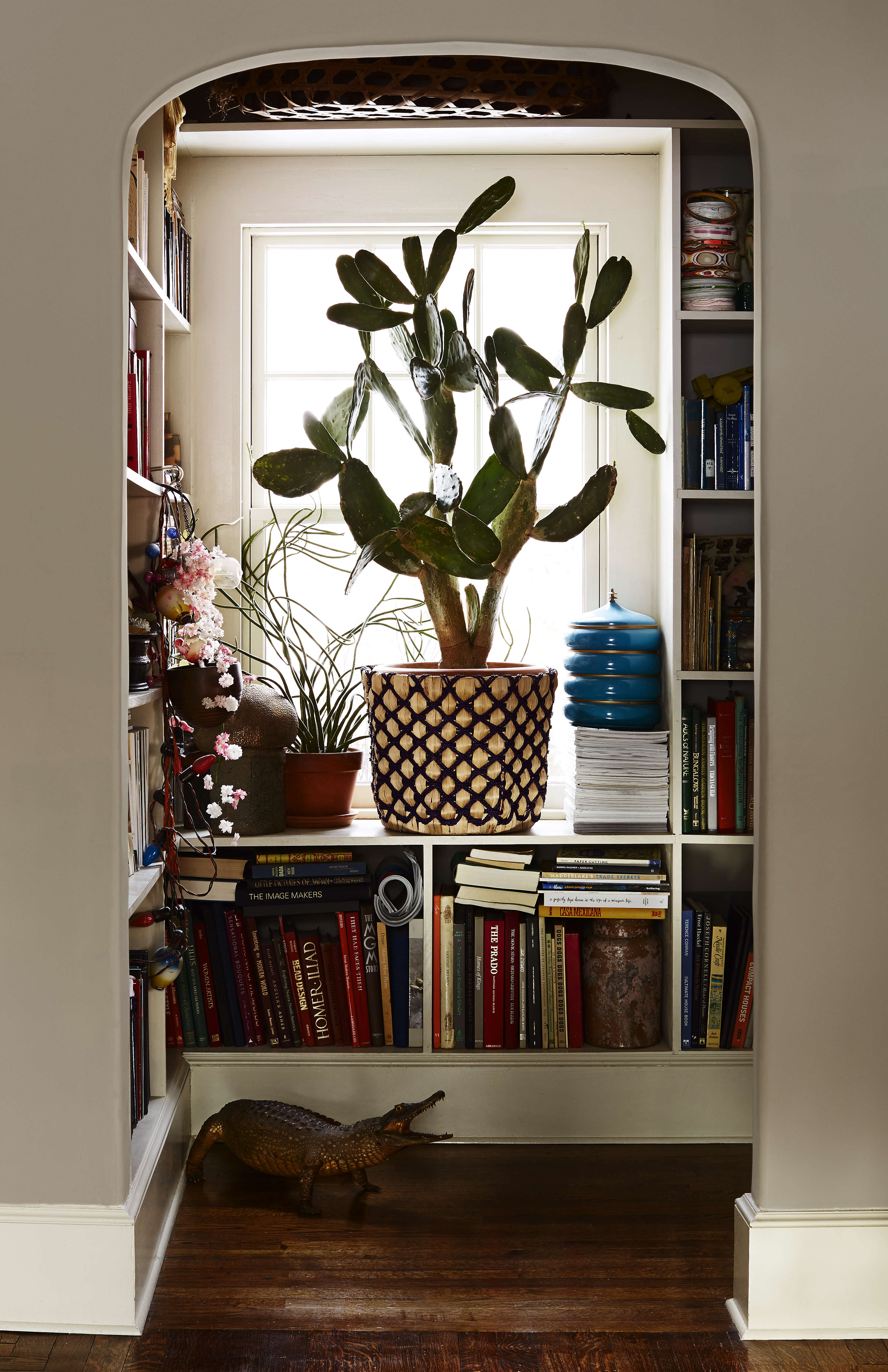 A prickly pear cactus (in a woven palm planter from Target) fills the window of the niche library, formerly the downstairs bathroom. The windows throughout are all new, save for the ones in the sunroom, and are by Pella.