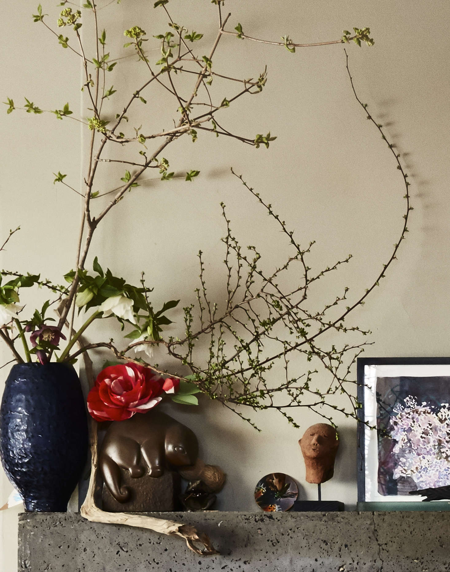 It took sixty 80-pound bags of concrete to create the mantel. (&#8