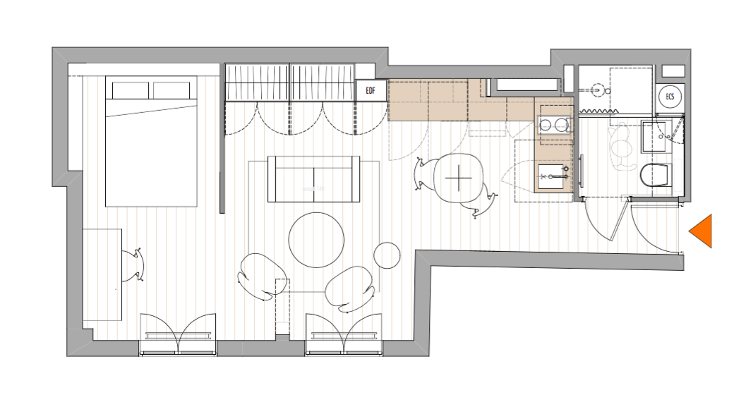 two room apartmentt floor plan by philippe harden for montparnasse pied a terre 14