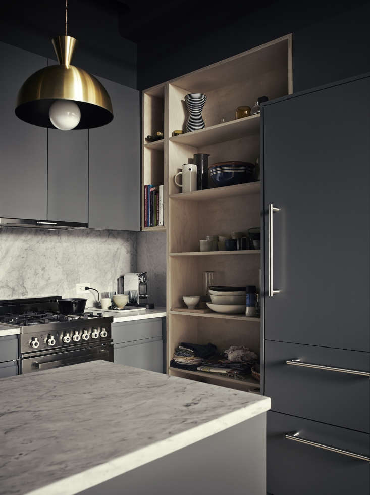 Upgraded Ikea kitchen in photographer Pia Ulin's Brooklyn loft designed by Bangia Agostinho Architecture |Remodelista