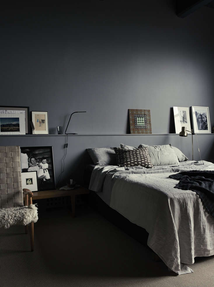 Moody gray master bedroom in photographer Pia Ulin's Brooklyn loft designed by Bangia Agostinho Architecture |Remodelista