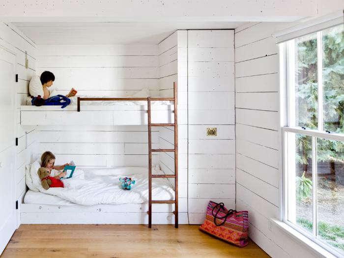Built-in beds (shiplap included) atA Scandinavian Cottage—in Portlandia.