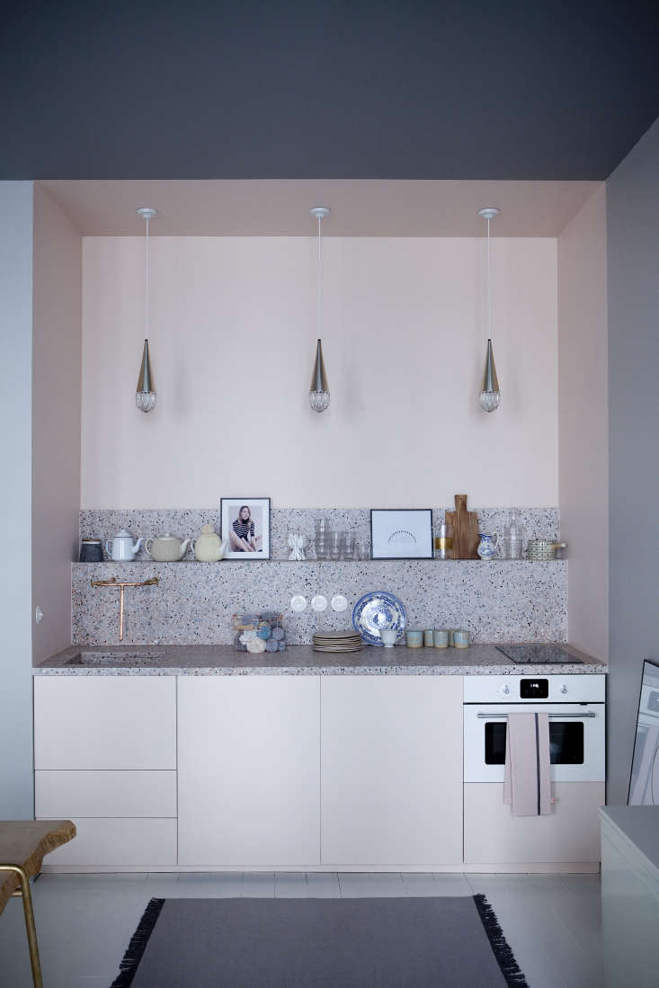 bubblegum pink cabinetry meets terrazzo counters and gray walls inchez marie  12