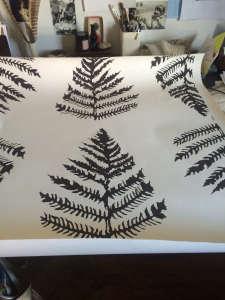 erica tanov hand silkscreen printed wallpaper fern black remodelista 12