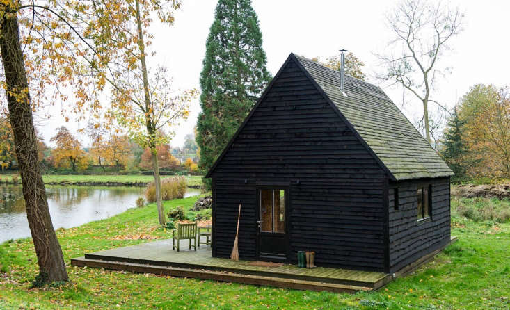 A cabin designed and built for under $40,000 in Belgium makes use of charred wood as exterior cladding from An Architect-Designed—and Built—Lakeside Cabin for Under $40,000.