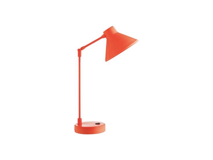 the bobby fluorescent orange metal desk lamp is £\20 (\$\29 usd) at habitat in 17