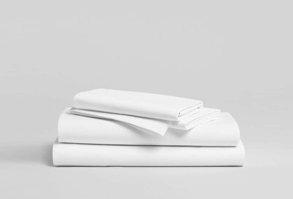 The Classic Core Sheet Set from Brooklinen is a simple queen size flat sheet, fitted sheet, and two pillowcases for $loading=