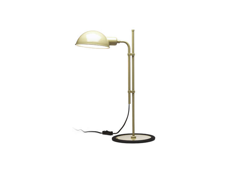 the funiculi task lamp comes inbeige (shown), bright red, and moss gray; \$3\ 12