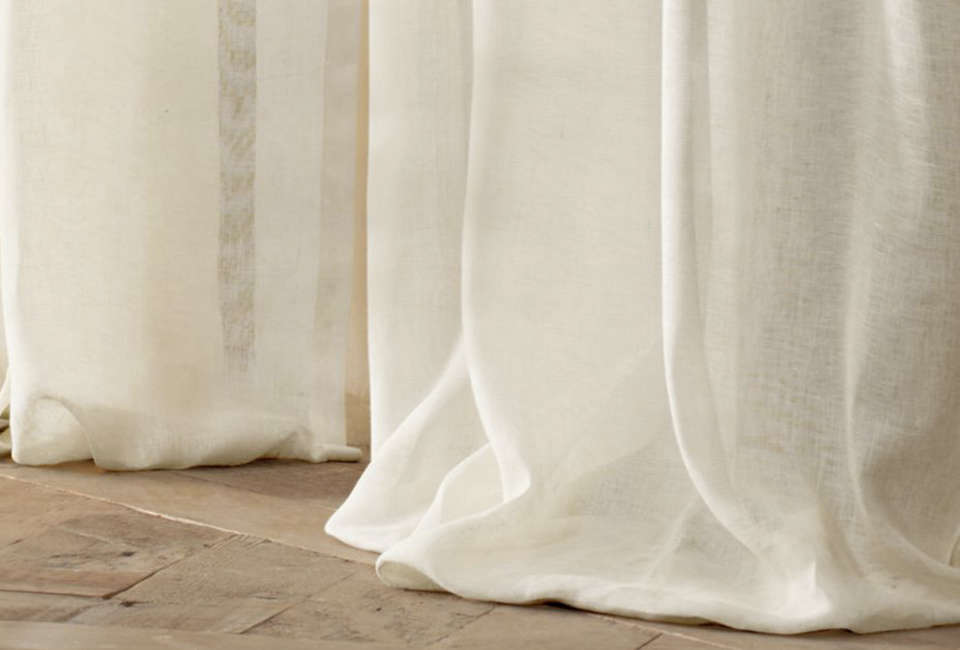 To match the look of the romantic curtains at Casa Privata, source the Belgian Sheer Linen Drapery from Restoration Hardware; $loading=