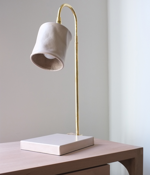 Series 01 lamp in brass with a leather shade by Adam-Otlewski via Brad Ford's Fair | Remodelista