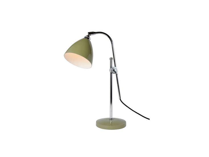 the original btc task table lamp in olive green is \$869 at horne. 15