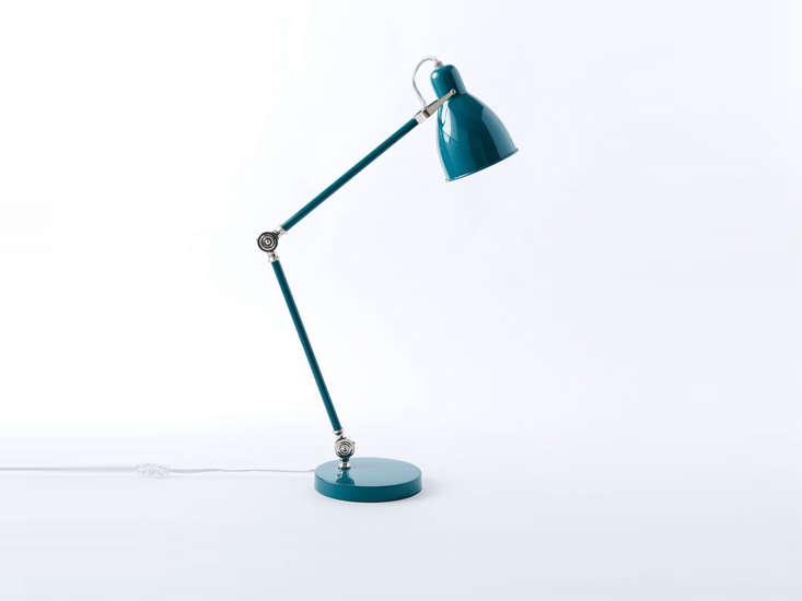 west elm&#8\2\17;s industrial task table lamp in teal is \$99. 21