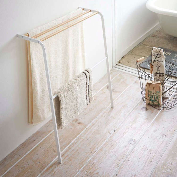 Genius LowCost Storage Solutions from Japan Yamazaki Tosca Leaning Bath Towel