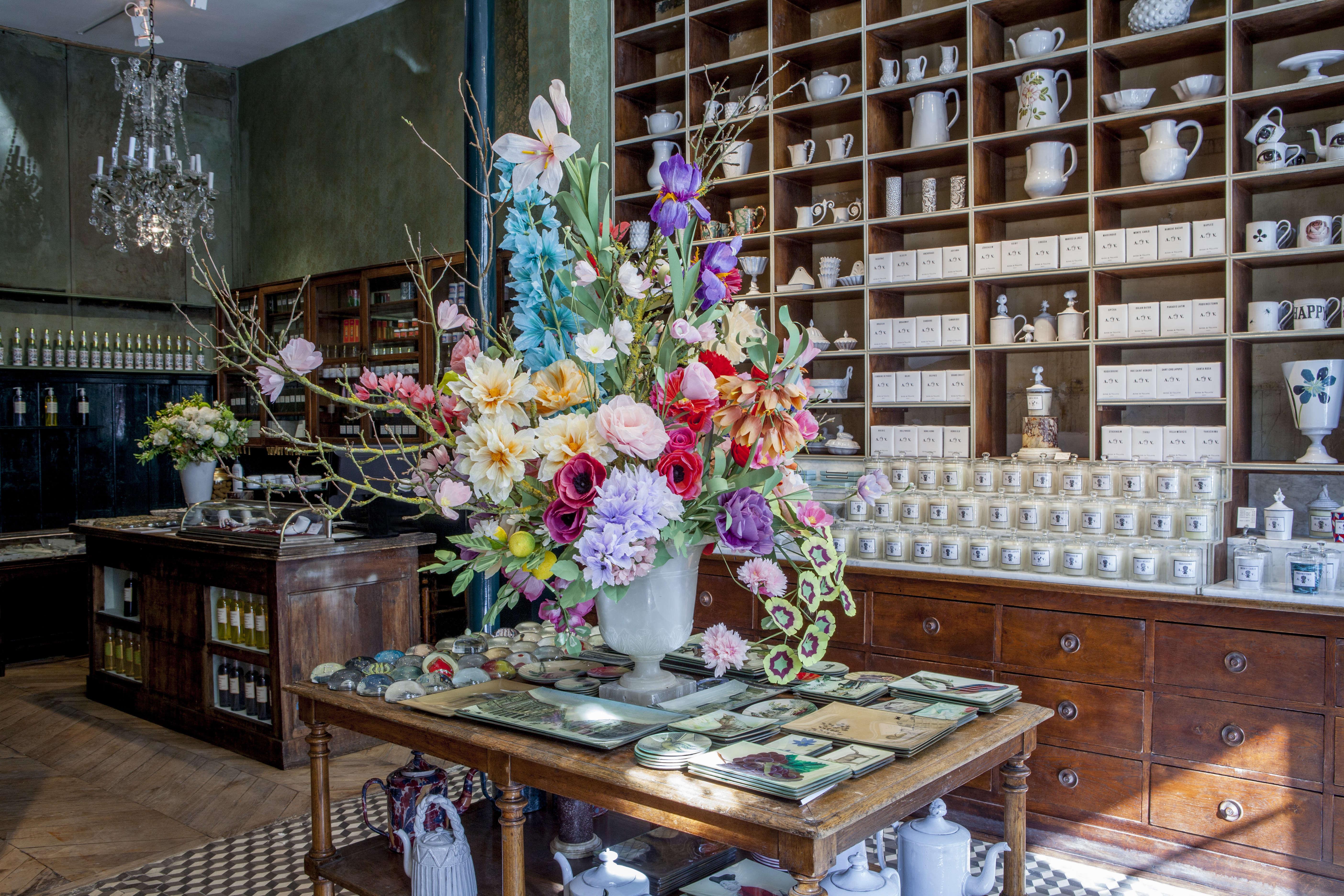 A paper bouquet by Livia Cetti, the Green Vase, at Astier de Villatte's new 6 Rue de Tournon in Paris | Remodelista