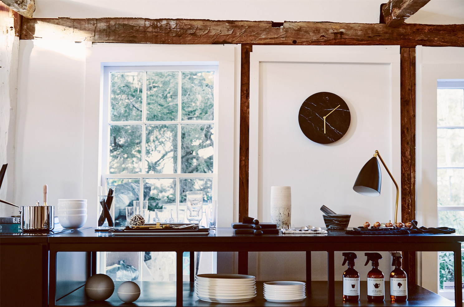 under the counter kitchen shelving and a marble clock at the line amagansett, a 14