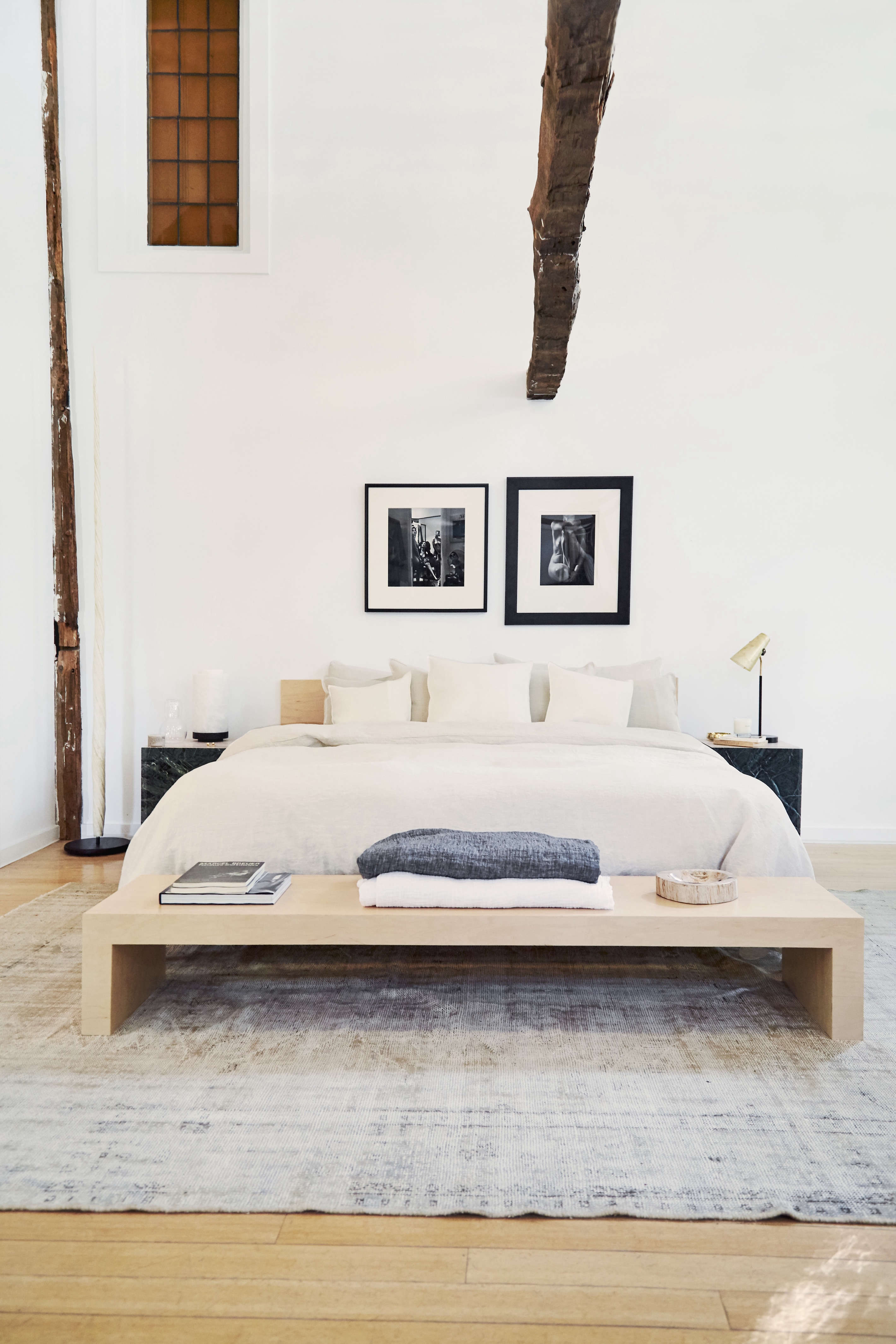 bedroom under the eaves at the line amagansett, a fashion and design shop in a  16