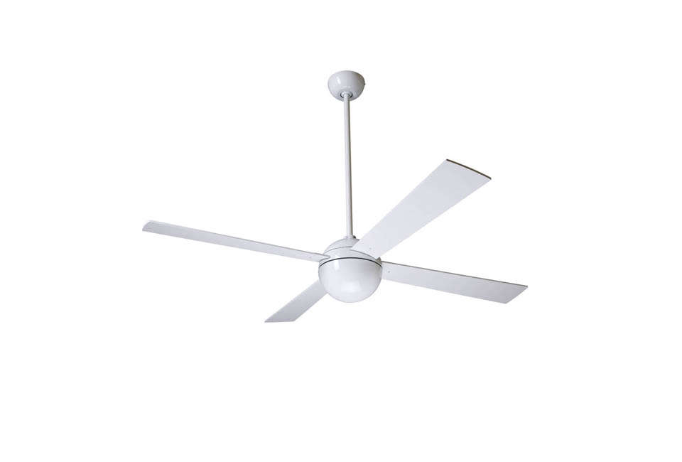 theball ceiling fan comes in white or brushed aluminum; \$364 at ylighting. 17
