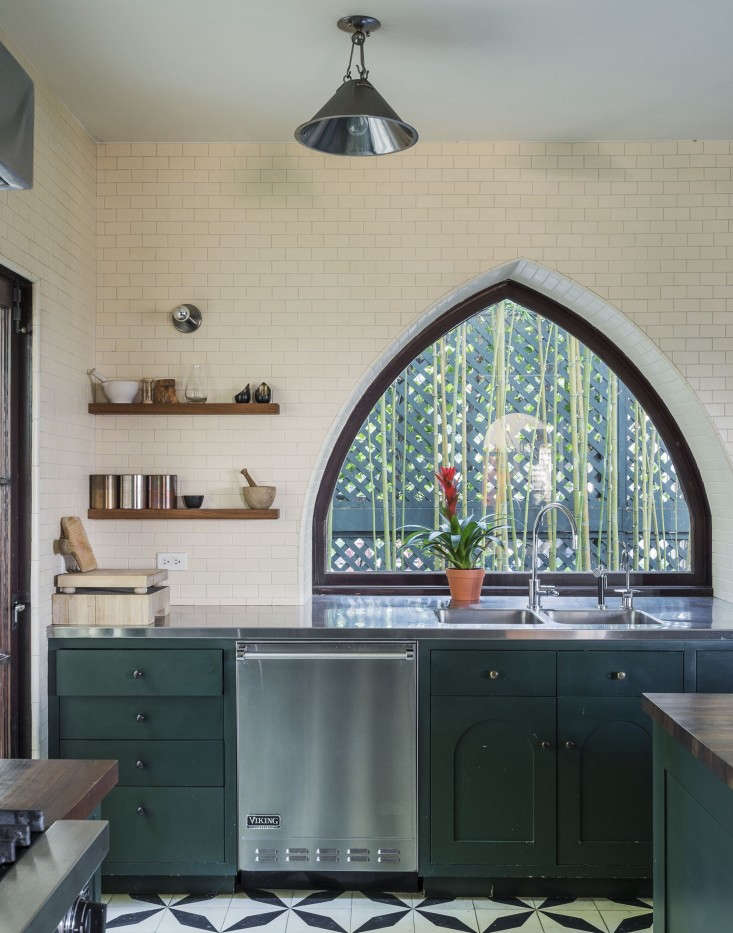 Trend Alert 10 Favorite TimeTested Dark Green Kitchens For the kitchen cabinetry in the Los Feliz home of Commune cofounder Ramin Shamshiri, the designer and his sister Pamela mixed \17 paint samples from Fine Paints of Europe to match the depth of a green door the pair spotted in the Netherlands.See more inSteal This Look: An Exotic Tiled Kitchen by LA Design Firm Commune. Photographby Matthew Williams for Remodelista.
