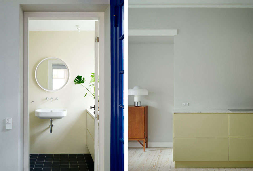 above, l to r: creme paint in the bathroom; two grey rooms on the kitchen walls 10