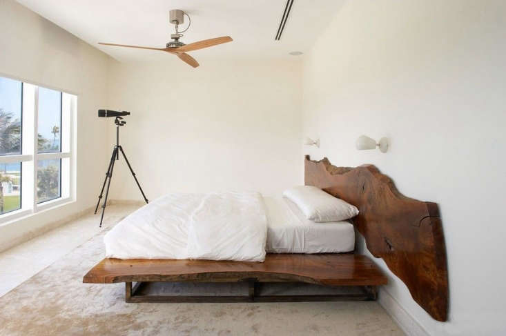 A Miami Beach bedroom designed by Magdalena Keck (a member of our Architect/Designer Directory) has a Boffi Air Fan with natural wood blades (see the fan in black below). To source in the US, contact Boffi in San Francisco.
