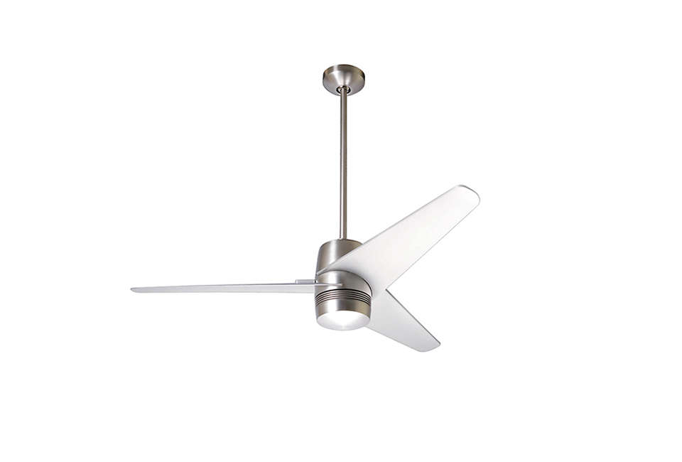 the energy star–approvedvelo ceiling fan comes in nickel (shown) and white; 14