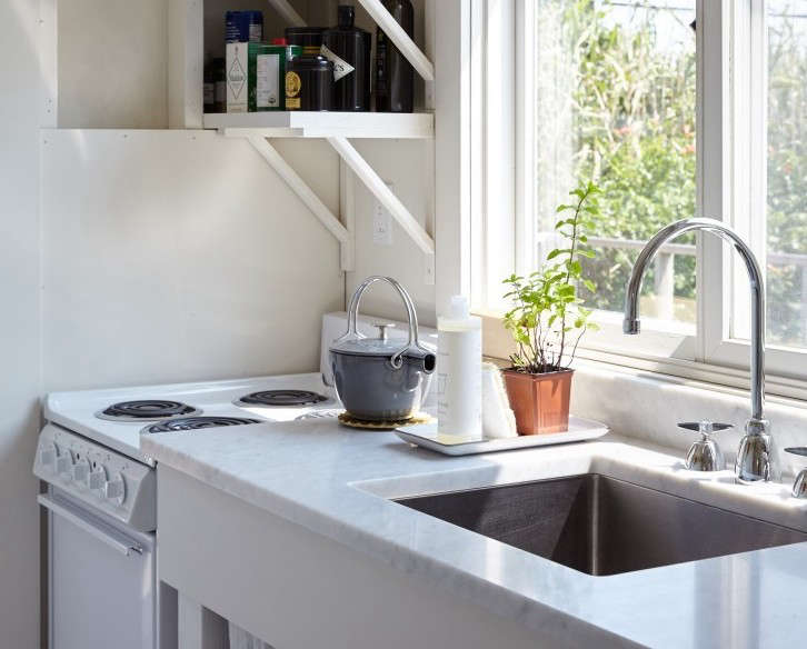 A compact range,just  inches wide, fits in even the smallest of kitchens inA Chic Fixer-Upper on Fire Island.