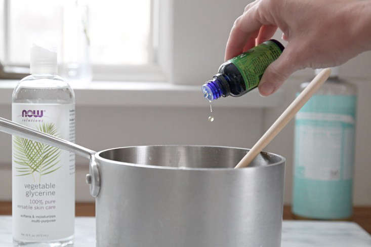 Step 3: Add glycerin (a natural solvent and softening agent) and essential oil. In addition to adding a nice scent to your dish soap, some essential oils have antibacterial properties. Here&#8