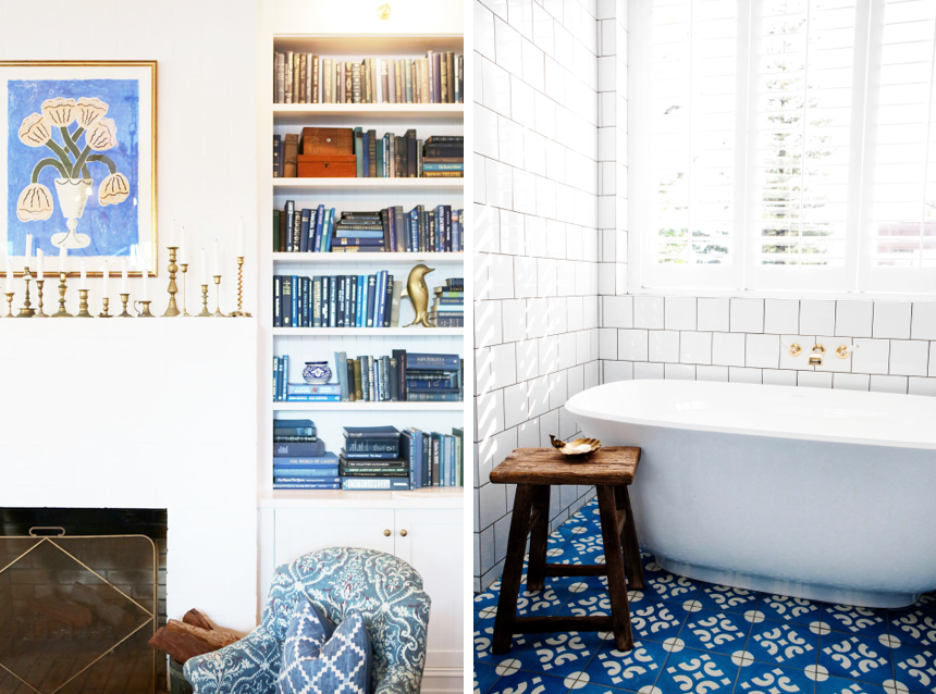 A blue-and-white- palette at Halcyon House, a boutique hotel in Cabarita Beach, Australia, designed by Anna Spiro | Remodelista