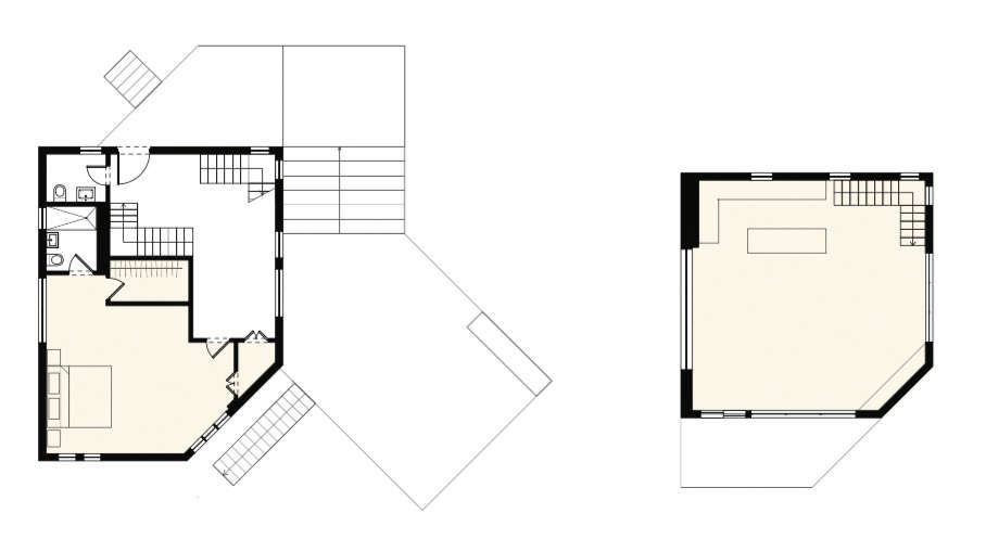 The middle floor with entryway and master bedroom is shown at left, and the top floor with kitchen and living space at right.