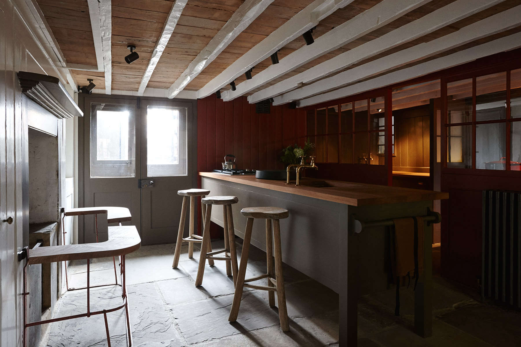Classic British kitchen island at The New Road Residence, a curated London rental house where everything is for sale | Remodelista