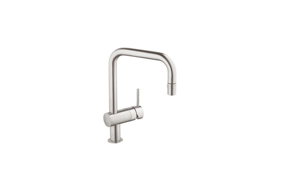 Steal This Look Smart Storage in a Swedish Kitchen The Grohe Starlight Chrome Minta Pull Down Kitchen Faucet is \$4\19.30 for the SuperSteel finish (shown here) at Faucet.com. For more ideas, see \10 Easy Pieces: Best Budget Kitchen Faucets.