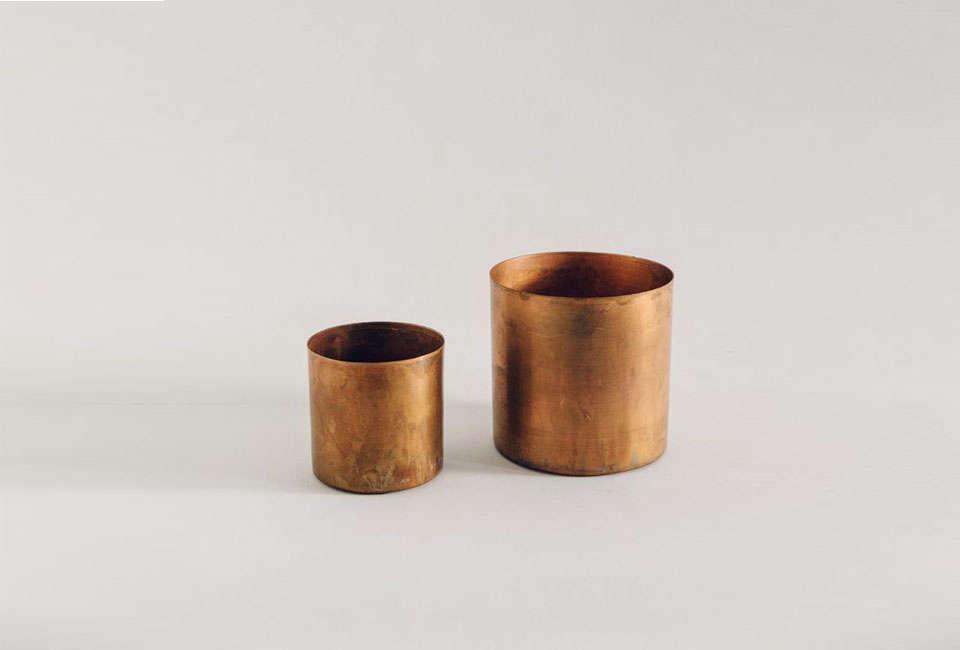 From Danish company H. Skjalm P., the Small Raw Copper Planter (L) andLarge Raw Copper Planter (R) are £ ($3